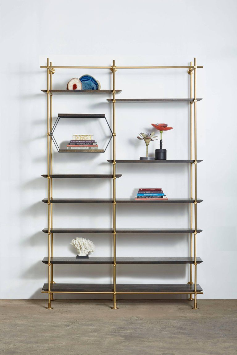 Amuneal Bookcase 2 Bay Collector Shelving Unitandoxidized Adjustable Shelves American Modern Brass Oak Brass Shelving Adjustable Shelving Shelves