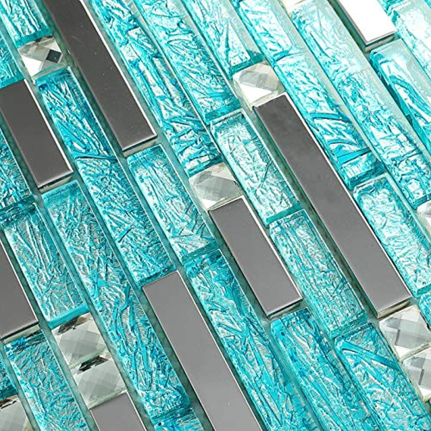 Hominter 5 Sheets Silver Stainless Steel Tile Cyan Blue Crystal Glass And Metal Wall Tiles For Kit Stainless Steel Tile Glass Backsplash Glass Tile Backsplash