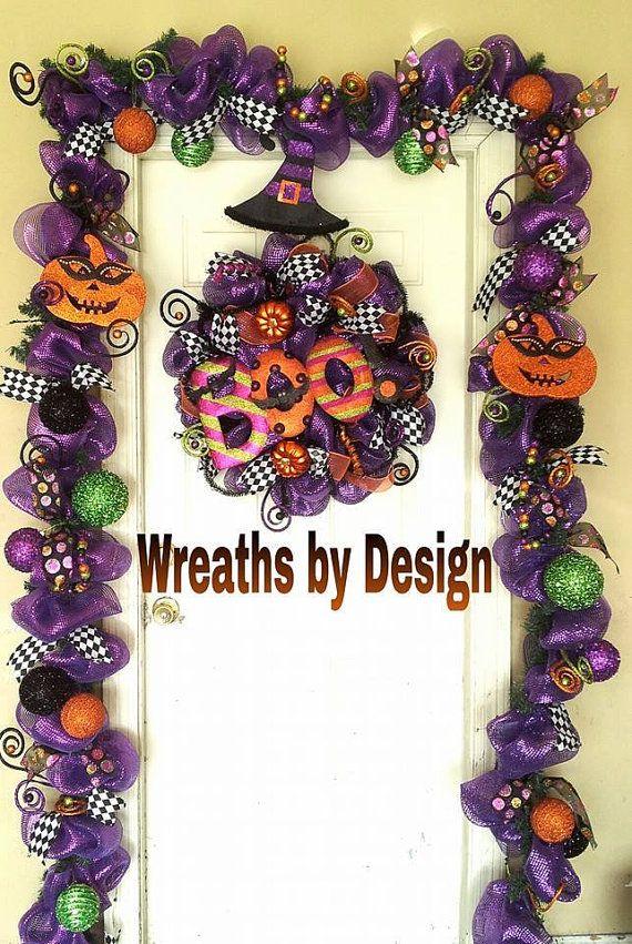 Boo wreath and 18 ft halloween garland by wreathsbydesign1 for Halloween girlande