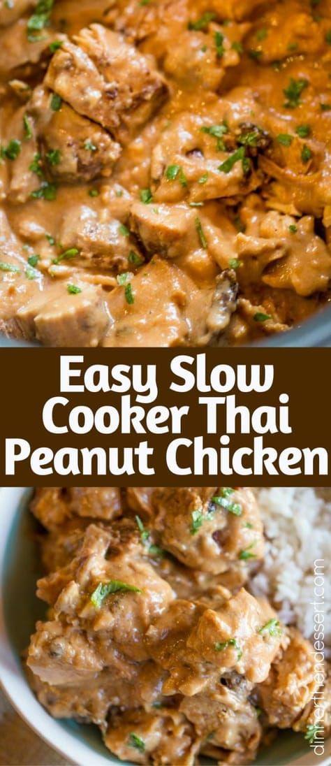 Slow Cooker Thai Peanut Chicken - Dinner, then Dessert