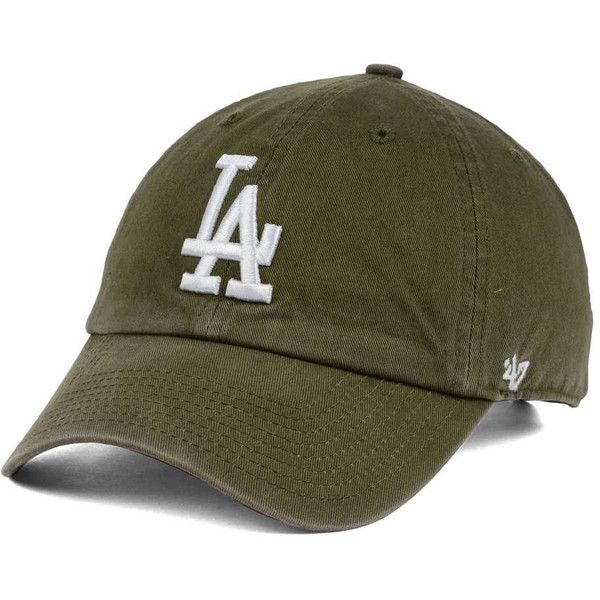 super popular dd5d6 85cf7 Los Angeles Dodgers  47 MLB Olive White  47 CLEAN UP Cap ( 28) ❤ liked on  Polyvore featuring accessories, hats, ball cap, baseball cap, la dodgers hat,  ...