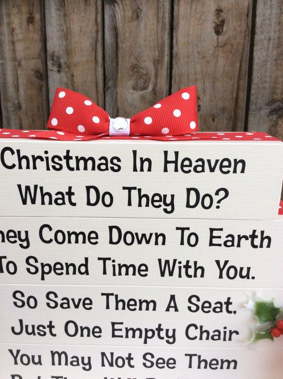 Christmas In Heaven Poem Memorial Table Top By Uponthewalldesign