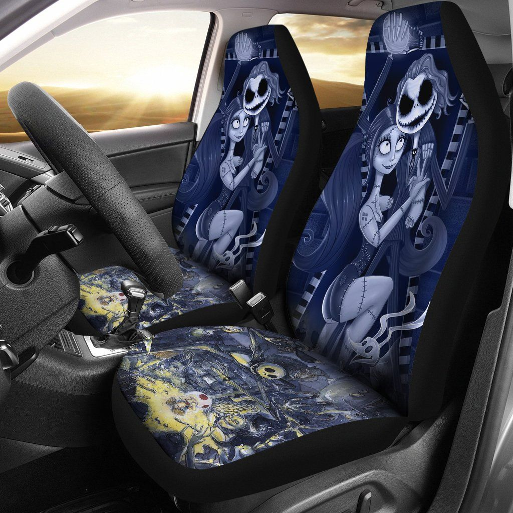 Outstanding Jack Sally Nightmare Before Christmas 1 Car Seat Covers Bralicious Painted Fabric Chair Ideas Braliciousco