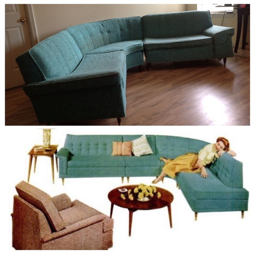 Kroehler 1950s Mid Centrury 3 Pc Sectional Couch Teal Only Needs