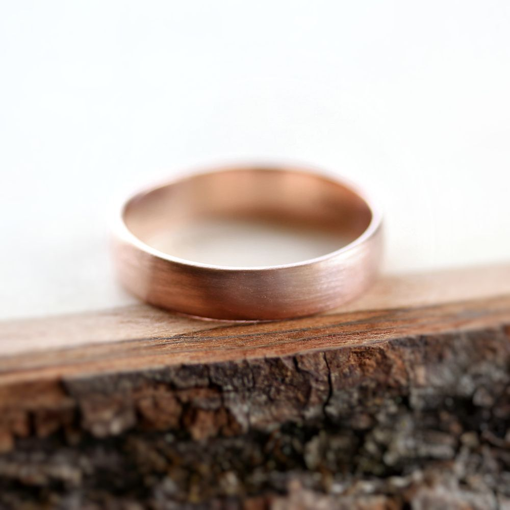 rose gold mens wedding band brushed 45mm low dome 14k recycled hand carved rose gold wedding ring made in your size
