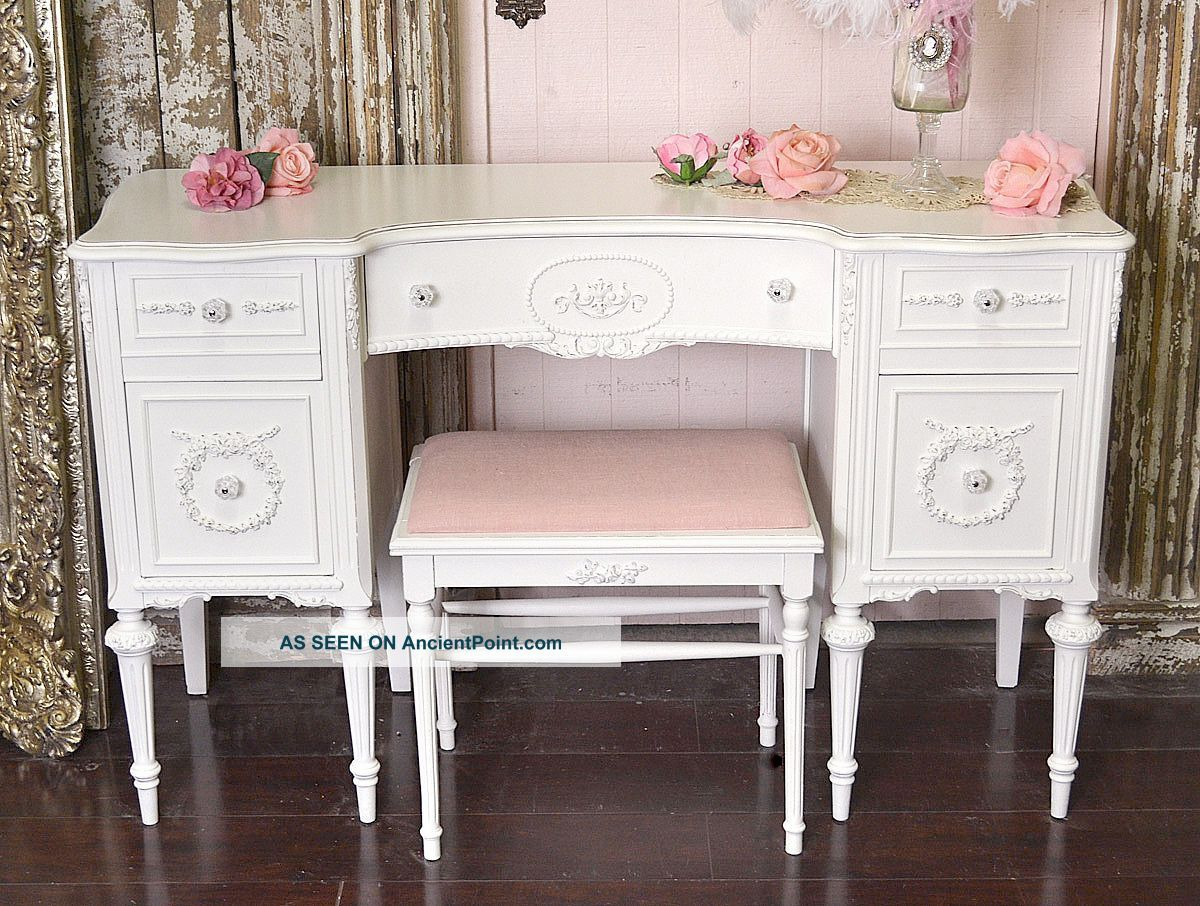 Shabby Cottage Decor Chic White Vintage Style Vanity Desk 5 Drawer