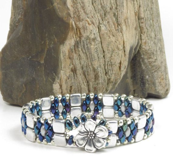 SUPERDUO CZECHMATE TILE Bracelet - Blue Iris SuperDuos - Silver Tiles - Toho Seed Beads - Silver Plated Tierra Cast Flower Button (SD107)