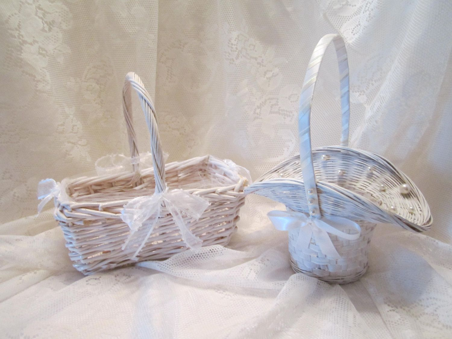 Sold Out Flower Girl Baskets White Woven Wicker Baskets