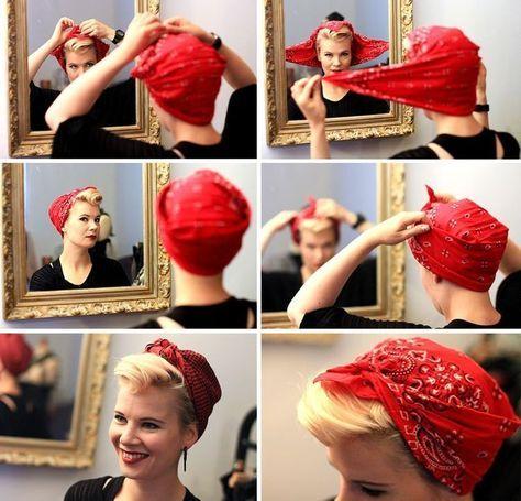 Kopftuch Binden 39 Kreative Ideen Und Anleitung Zum Selbermachen Diy Zenideen Kopftuch Binden Haar Styling Rockabilly Frisur