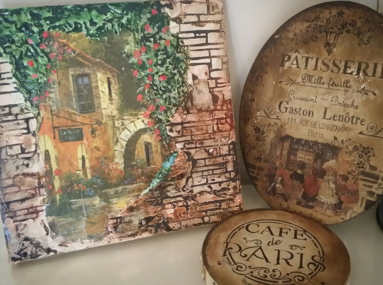 Mixed media canvases.  www.cottagechicinteriors.ie