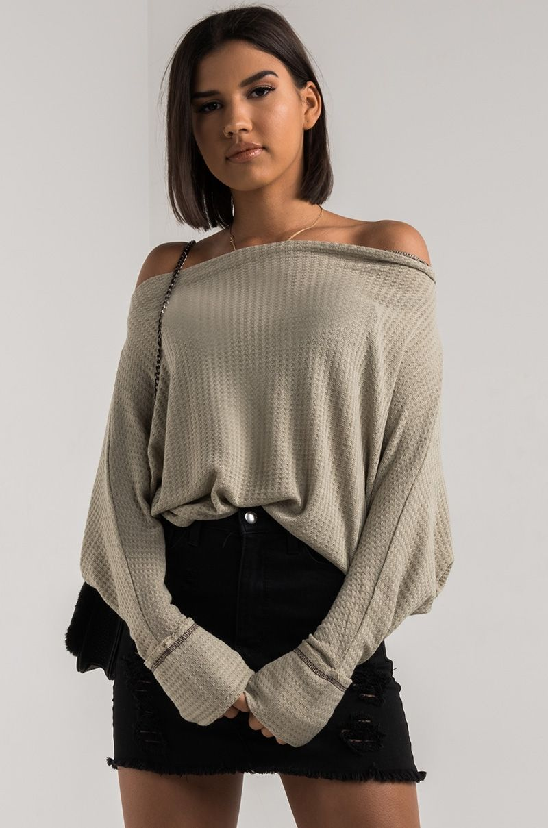 7d8f03a224e1a9 AKIRA Off Shoulder Poncho Fit Light Knit Raglan Long Sleeve Top in Thyme