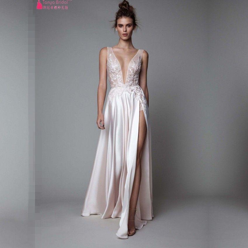 7068b22afb Find More Prom Dresses Information about Sexy Deep V New Prom Dresses 2017  Side Split Silk Satin Custom Made Beige Formal Prom Gown vestidos de  festa