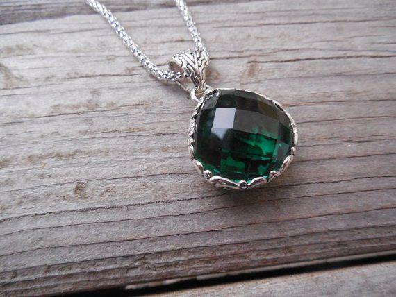 ON SALE Beautiful deep green amethyst necklace handmade in sterling silver