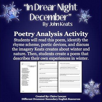 John Keats In Drear Night December Winter Activity With Images