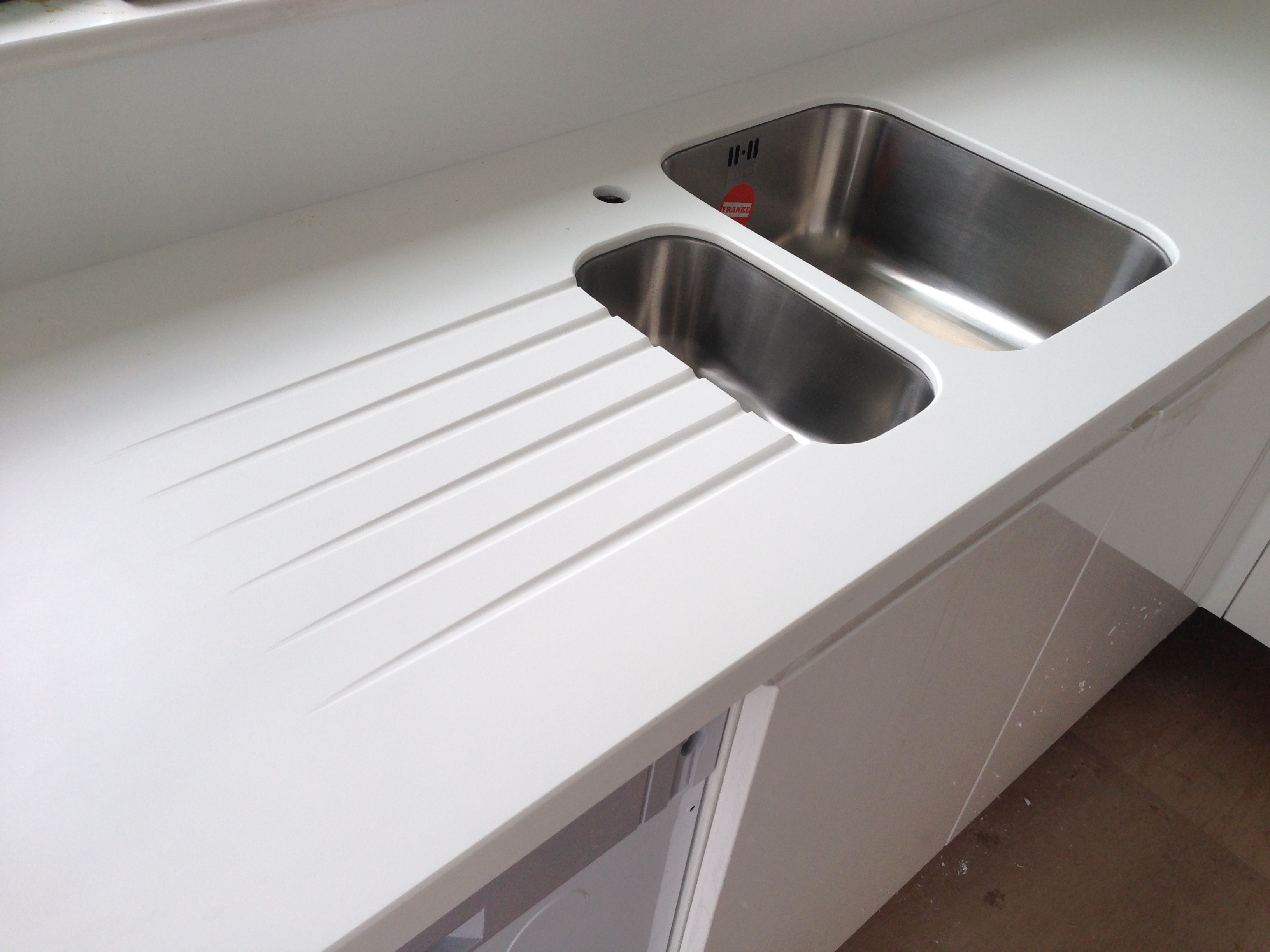 Stainless steel kitchen work surfaces - Corian Work Surface White With Upstand Google Search