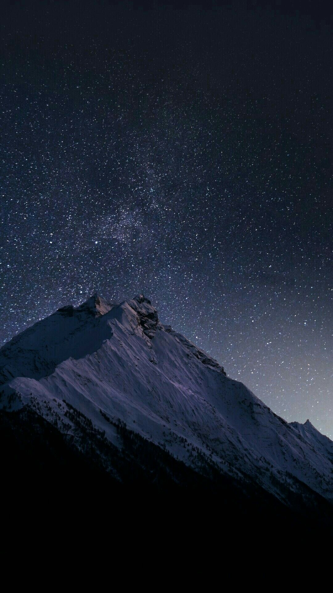 Beautiful Mountain art Night with stars in the sky