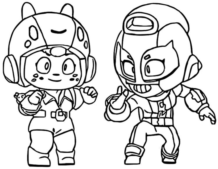 Coloring Page Brawl Stars Bea And Max 47 In 2020 Star Coloring