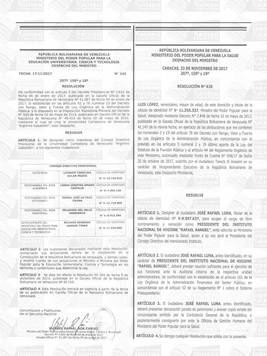 Gaceta Oficial N 41 286 Venezuela Nicolas Maduro Oficial