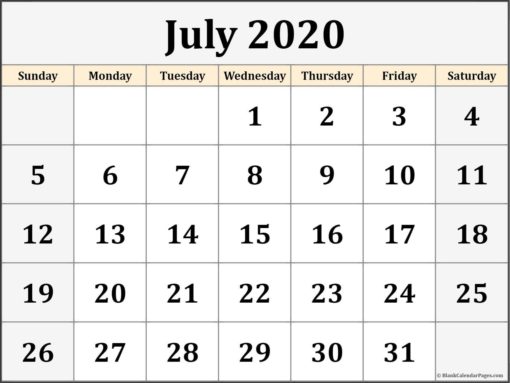 July 2020 Calendar July 2020 Calendar July 2020 Calendar Free Blank July 2020 Printable Monthly Calendar Printable Calendar Printables Blank Calendar Template