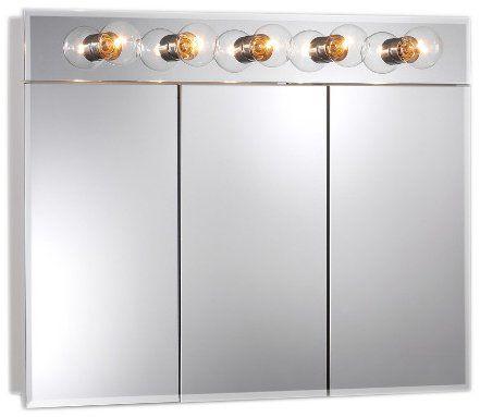 Jensen 755443 Ashland Lighted Frameless Medicine Cabinet with Five Bulbs