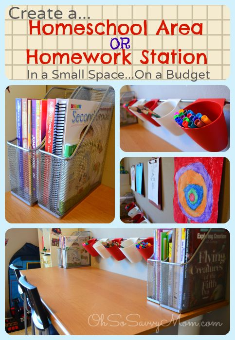 Homework Station Or Homeschool Area In Small Spaces Homework Station Diy Diy School Organization Homeschool Organization