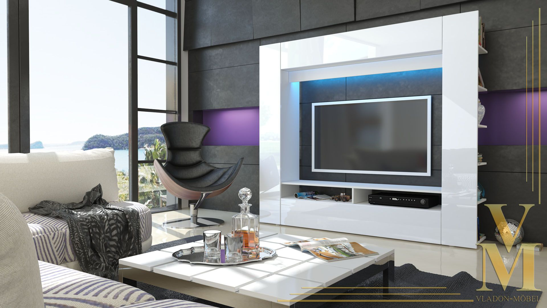 Details About Wall Unit Tv Stand Living Room Furniture Olli White High Gloss Natural Tones