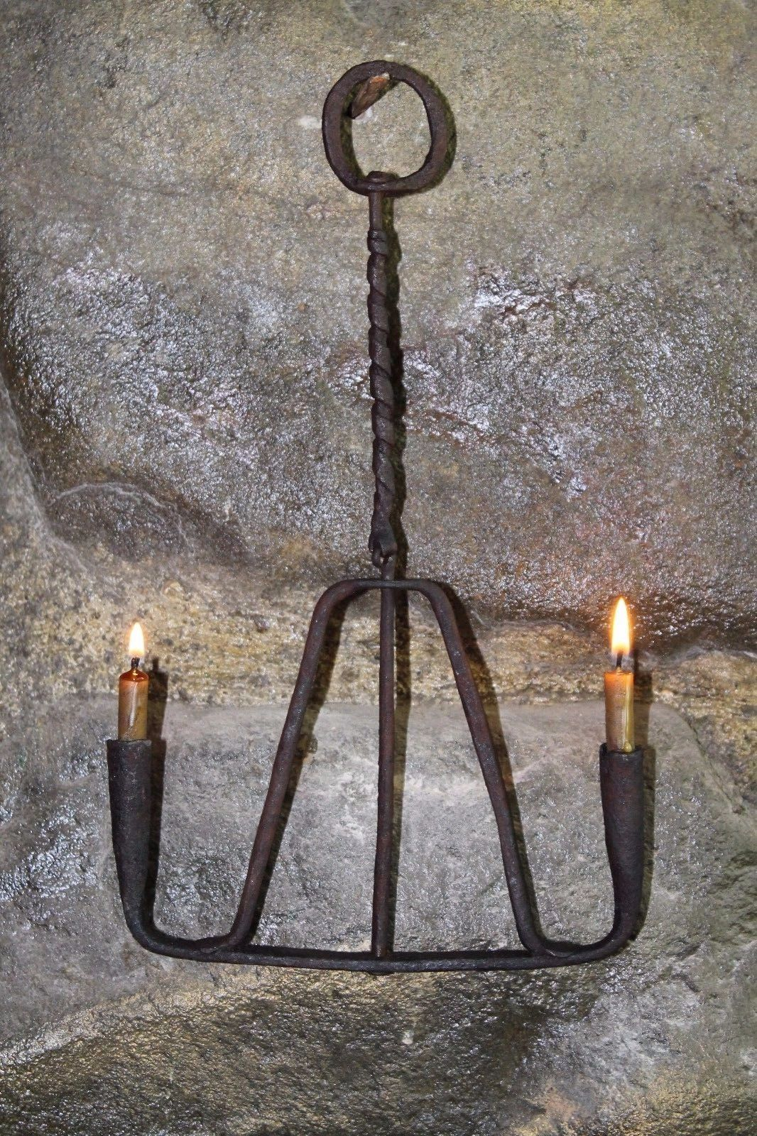 Early 19th Late 18th Century Wrought Iron Rushlight Holder Candlestick Rotary Candle Glow Primitive Lighting Hand Forged Candle Holder
