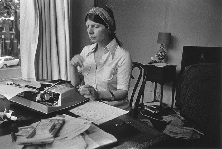 Credit: Evening Standard/Getty Images Margaret Drabble in the study of her London home in 1974.
