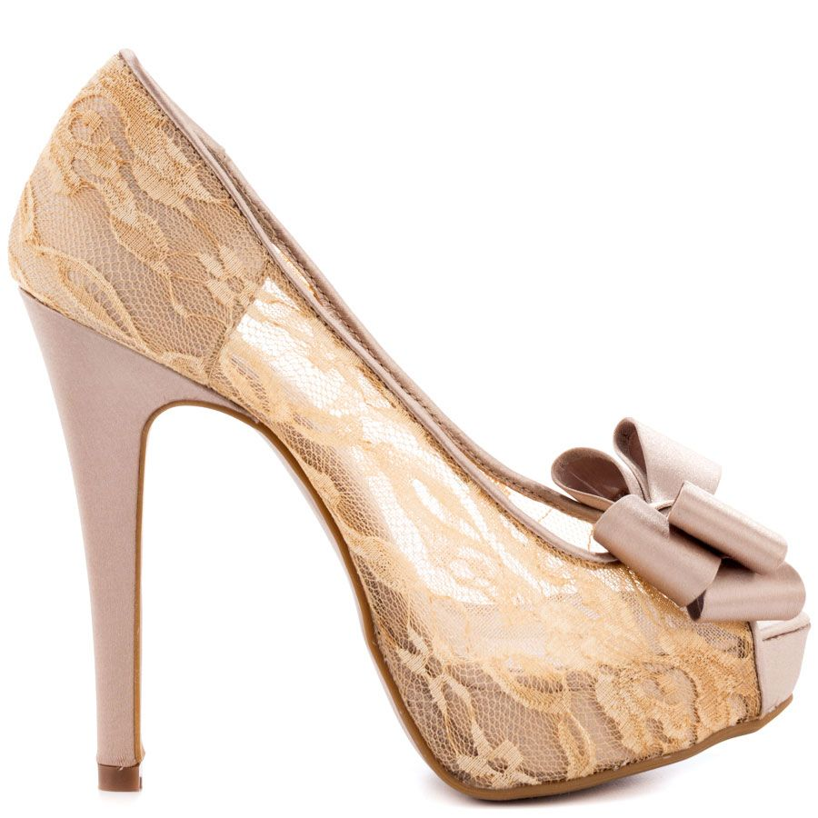7eb3fe6df8 This pretty Chinese Laundry pump features a lavish nude lace upper and  dainty bow at the vamp. A 5 1/2 inch heel ...