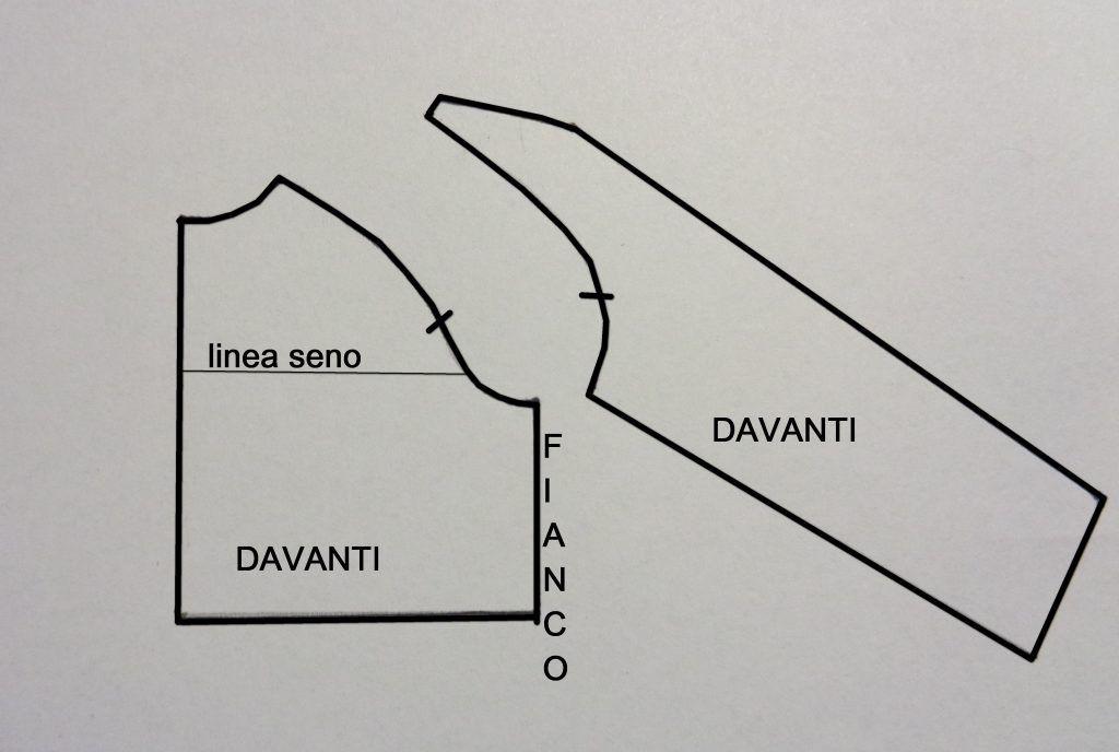 c06b0d4a654b sviluppo schema del cartamodello del corpino davanti con manica raglan