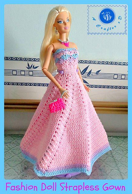 FREE CROCHET PATTERN - Fashion doll strapless gown pattern by Maz ...