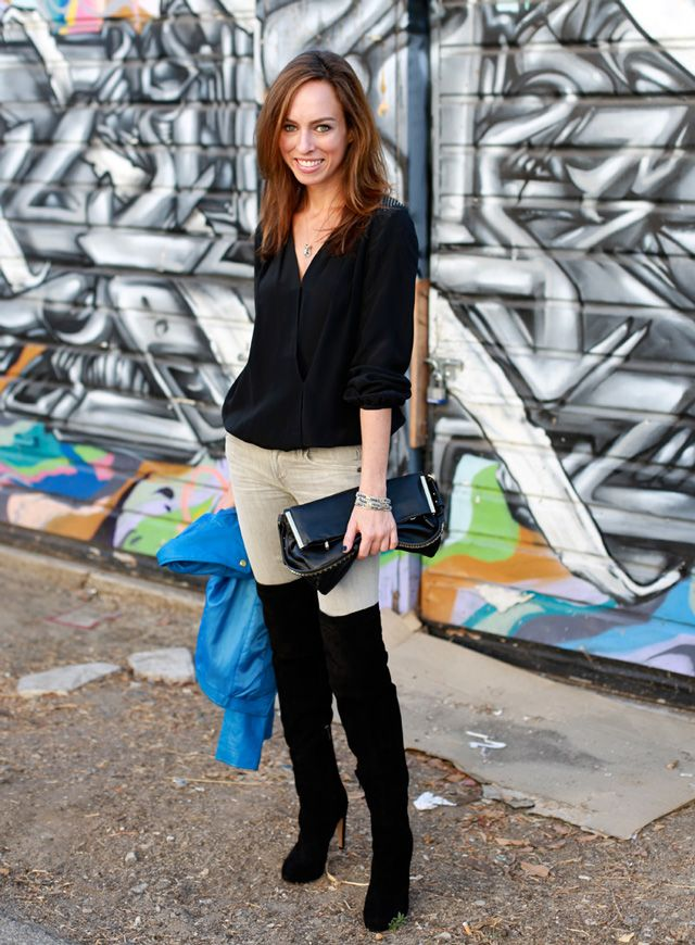 Sydne-Style-what-to-wear-with-gray-jeans-black-over-the-knee-thigh ...
