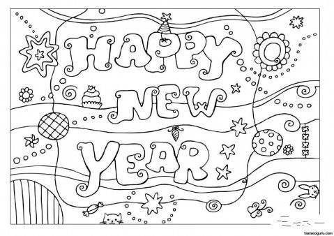 Printabel coloring pages Happy New Year 2013 - Printable Coloring ...