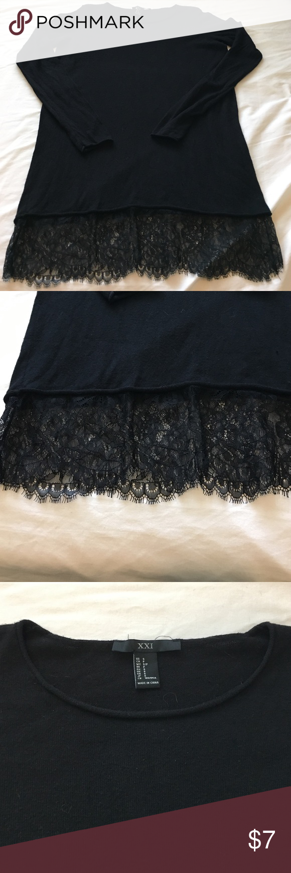 Forever 21 Long Sweater w/Lace Edge Lace detailed Sweater- very lightweight thin style sweater. Would look great with Lularoe leggings since it's on the long side!! Measurements will post soon!! Lace on one side looks like a piece was either cut off or during production it was sliced. See picture. Not noticeable when wearing & not coming apart. 100% polyester. Preloved. From nonsmoking home. Forever 21 Sweaters Crew & Scoop Necks