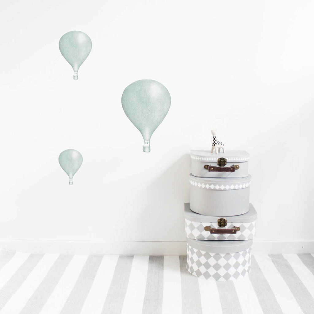 Stickstay Dusty Mint Balloons Set Of 3 Wall Stickers Kids