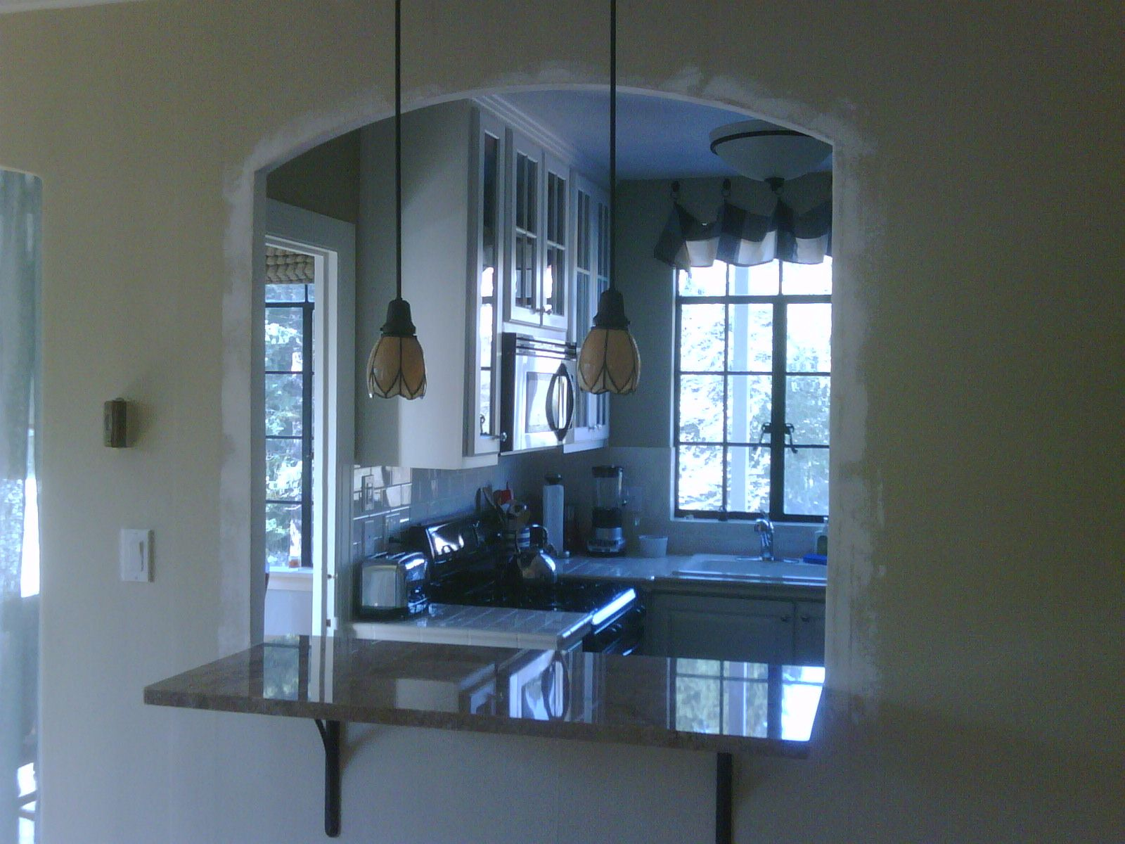 pass through window with bar | Kitchen Pass-Through with Granite ...