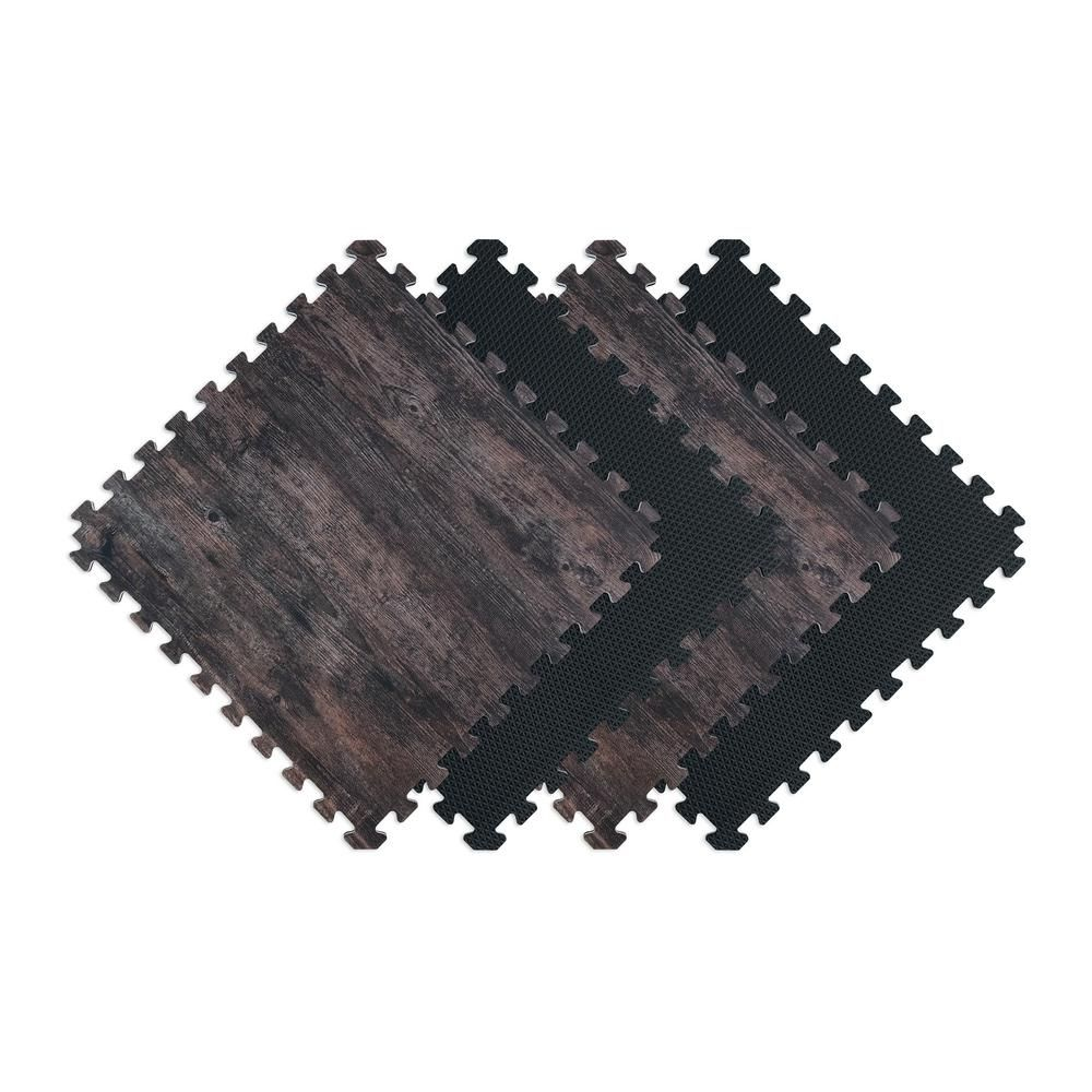 Norsk Reversible Dark Walnut/Black Faux Wood 24 in. x 24