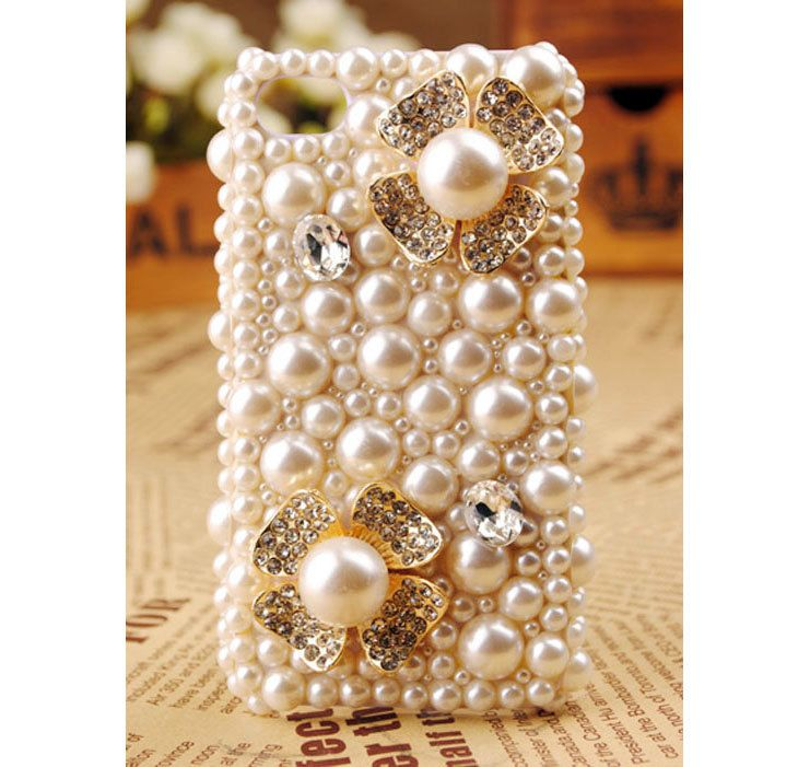 Apple iPhone 4S 4G Pearl Flower Crystals Back Protective Skin Case Cover Birthday Gift for Her. $42.77, via Etsy.