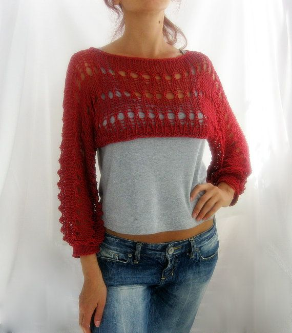 Cotton Summer Short Pullover Sweater Shrug in Ivory color, hand ...