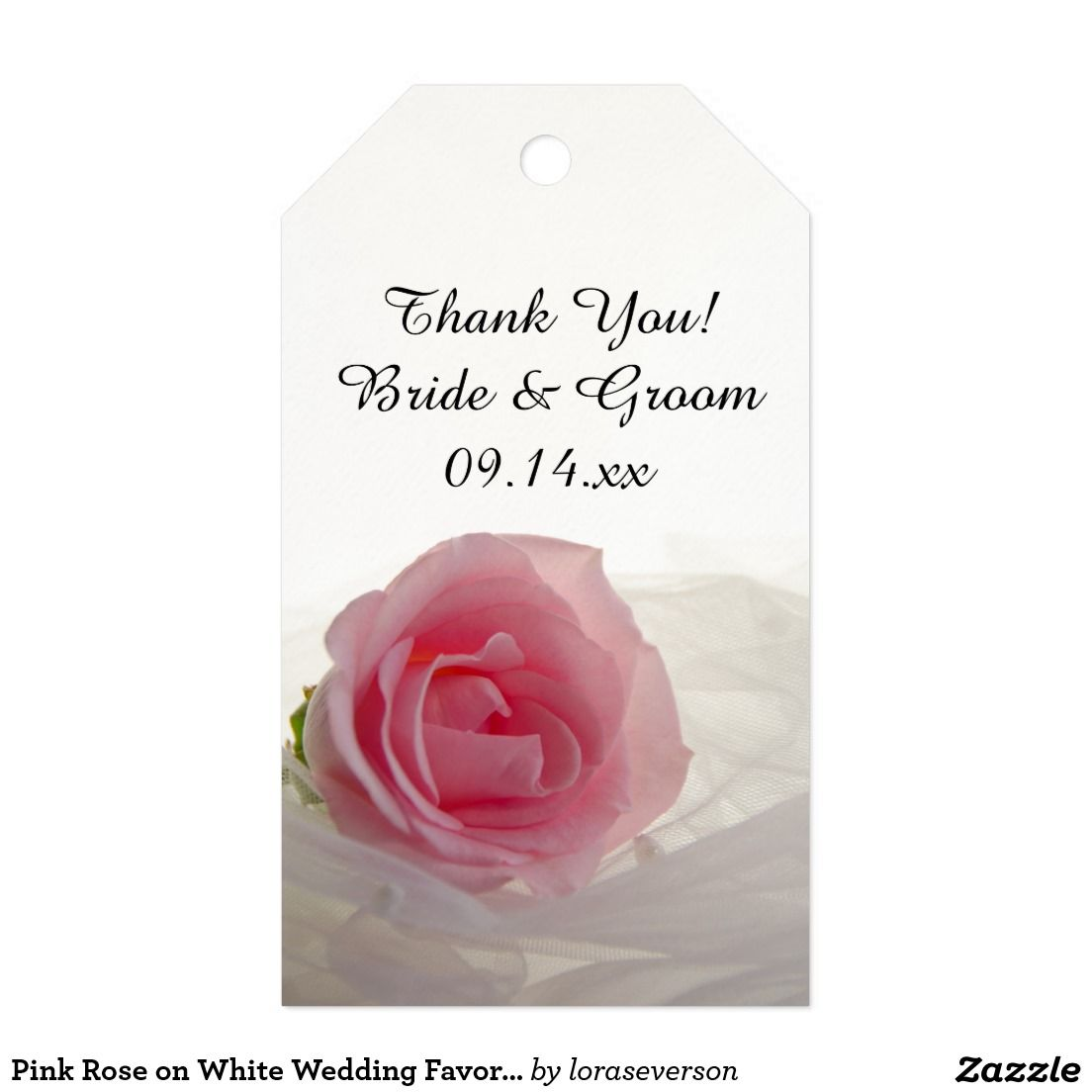 Pink Rose on White Wedding Favor Tags Pack Of Gift Tags | Wedding ...