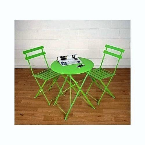 Green Bistro Set Folding Chairs Table Metal Patio Garden Coffee ...