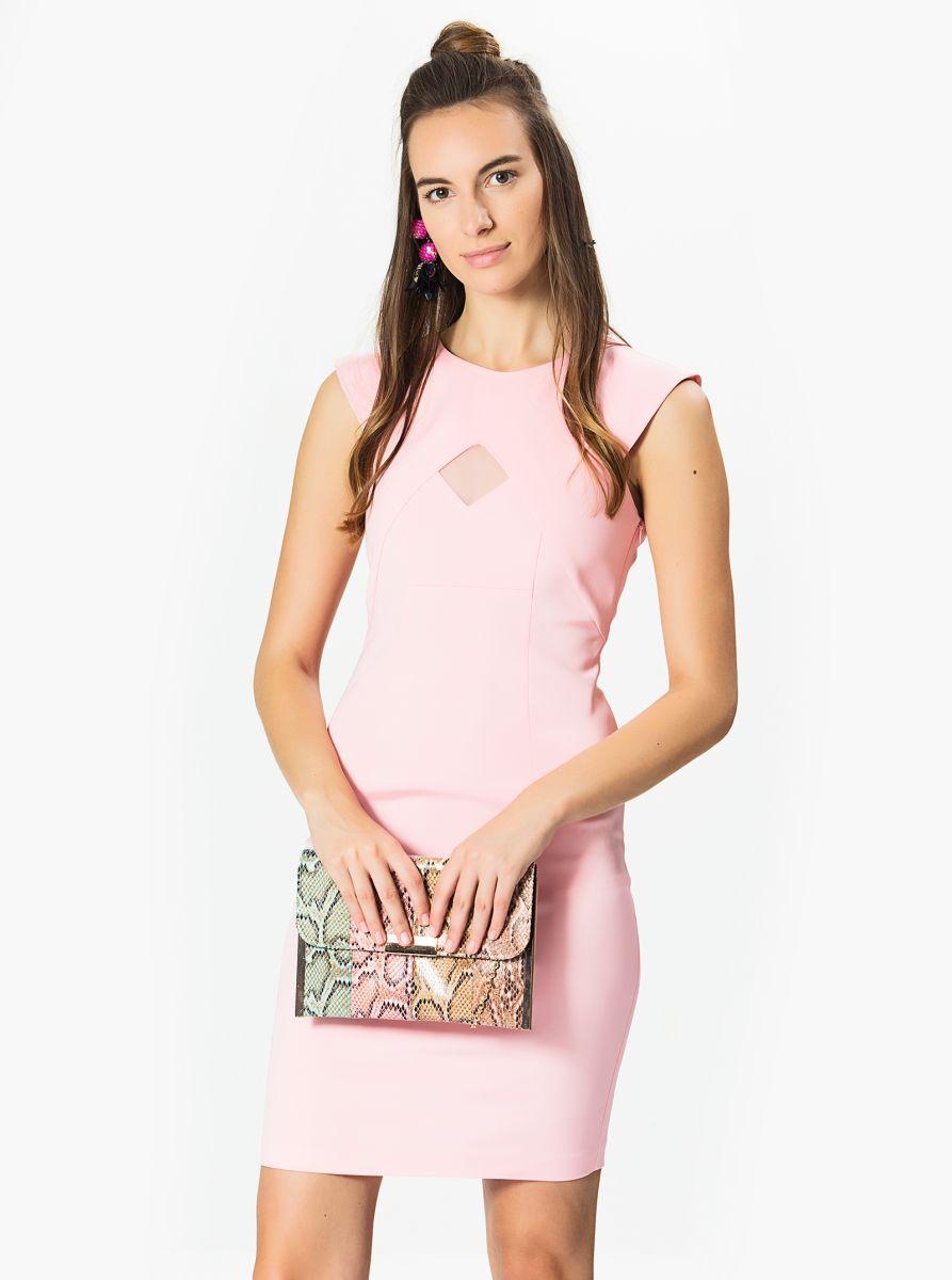 Roman Bayan Transparan Detayli Pembe Elbise Pembe Elbiseler Elbise Pembe