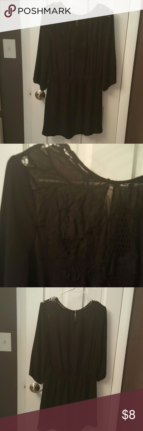 F21 Black dress Beautiful accent at neck. Super cute, excellent condition Forever 21 Dresses Mini