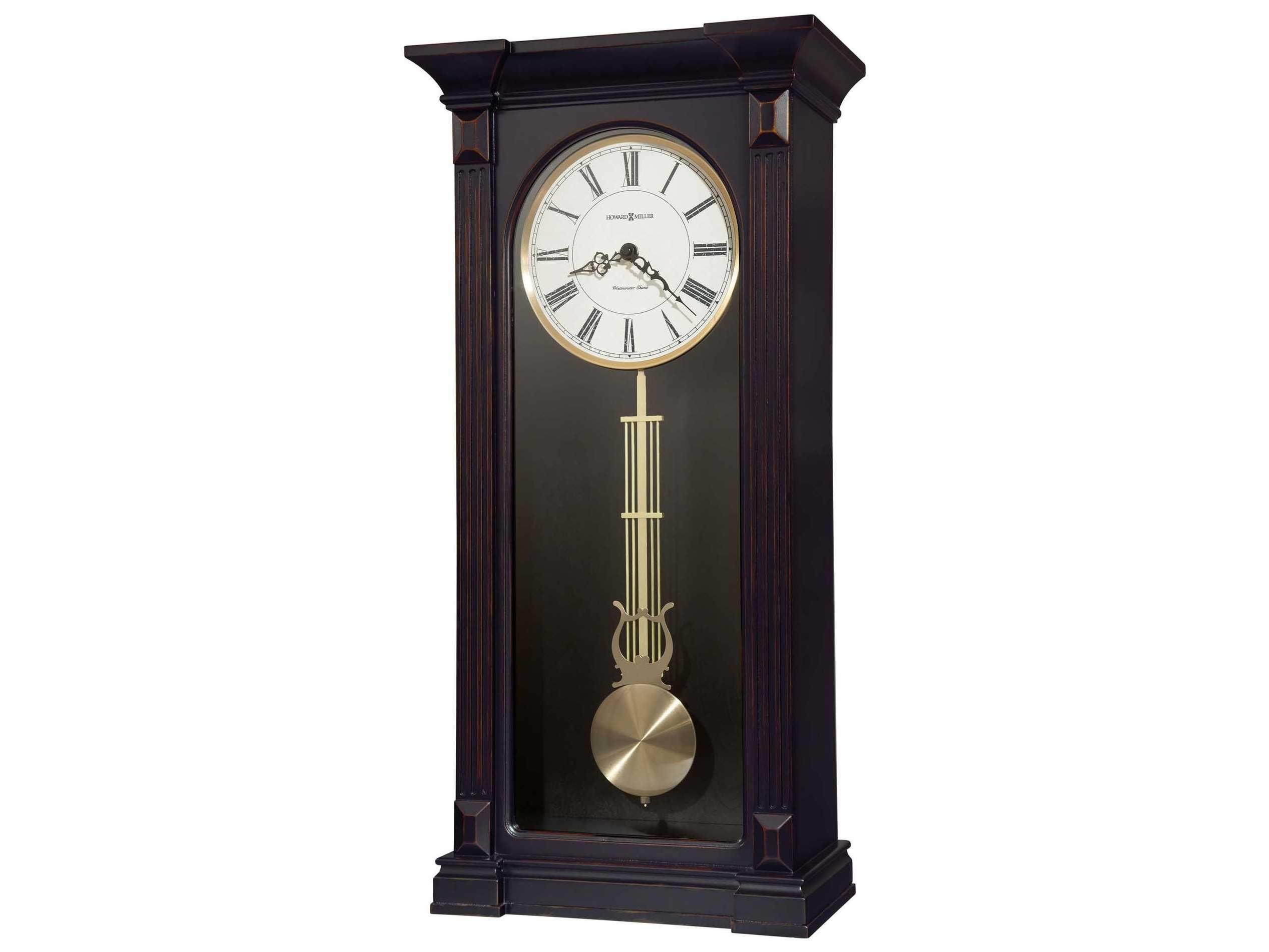 Howard Miller Mia Worn Black Chiming Wall Clock Chiming Wall Clocks Wall Clock Pendulum Wall Clock