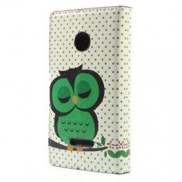 Lumia 435 vihreä pöllö puhelinlompakko.
