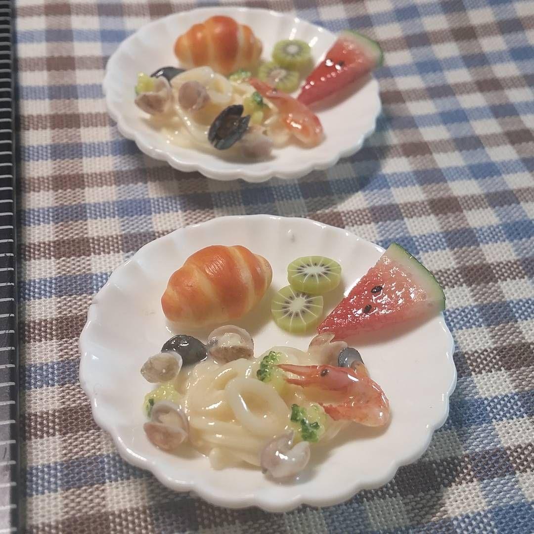 Miniaturefood  #miniaturefood #miniature #handmade #fakefood #clayfood #clay #airdryclay #spaghetti #pasta #watermelon #kiwi #breakfast #미니어쳐