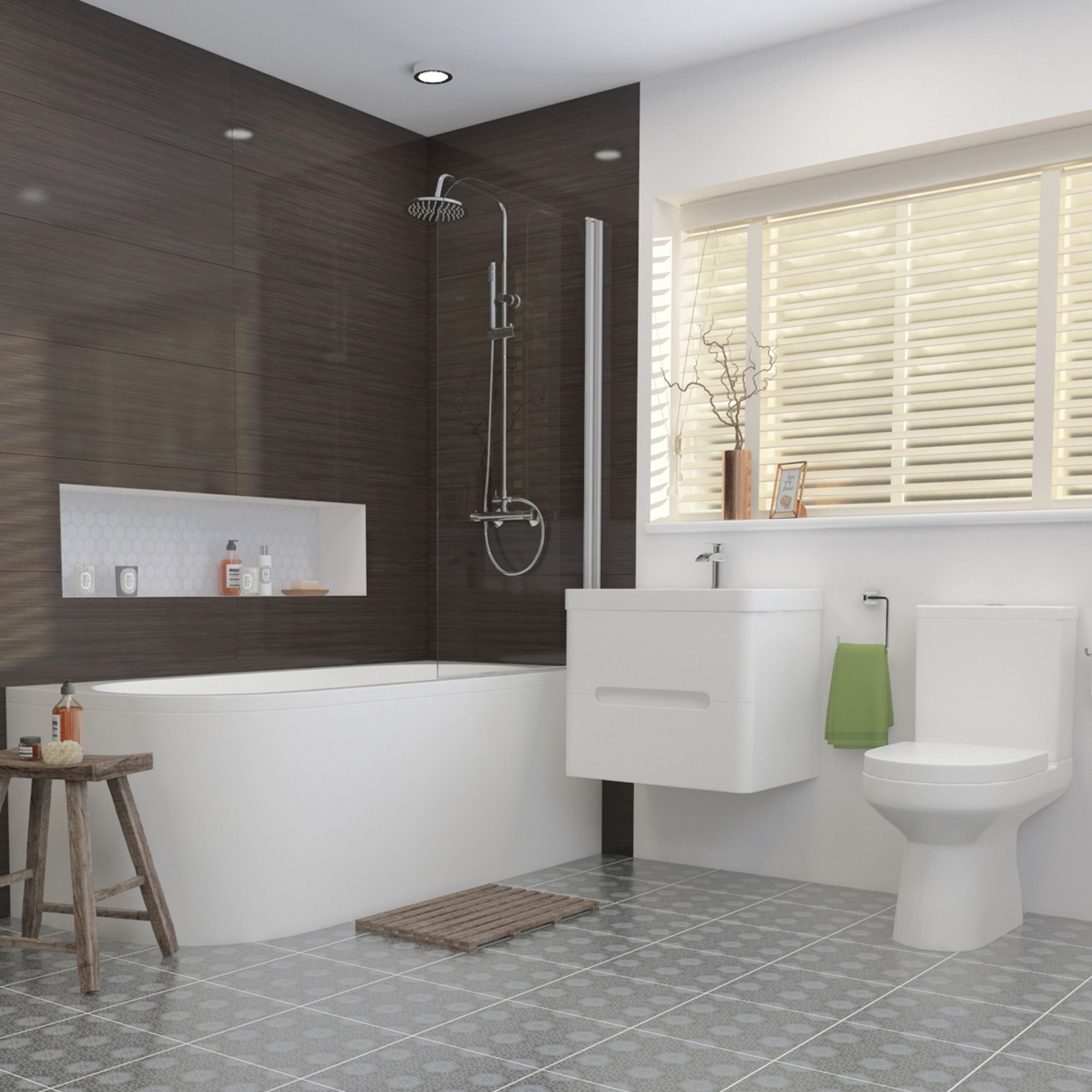 1700mm Tuscany Shower Bath Suite Right Hand   Complete bathroom ...