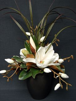 64 Cream Magnolia Medium Rian Pot Flower Arrangements Silk Flower Arrangements Floral Arrangements