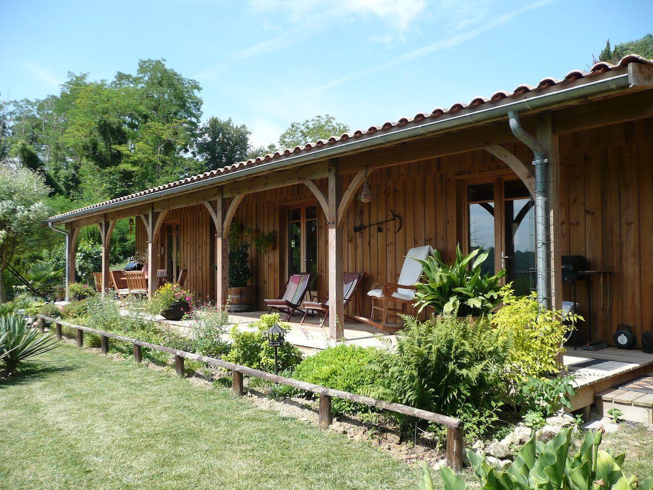Maison bois et terrasse au nord du bassin d 39 arcachon - Photo maison avec terrasse couverte ...