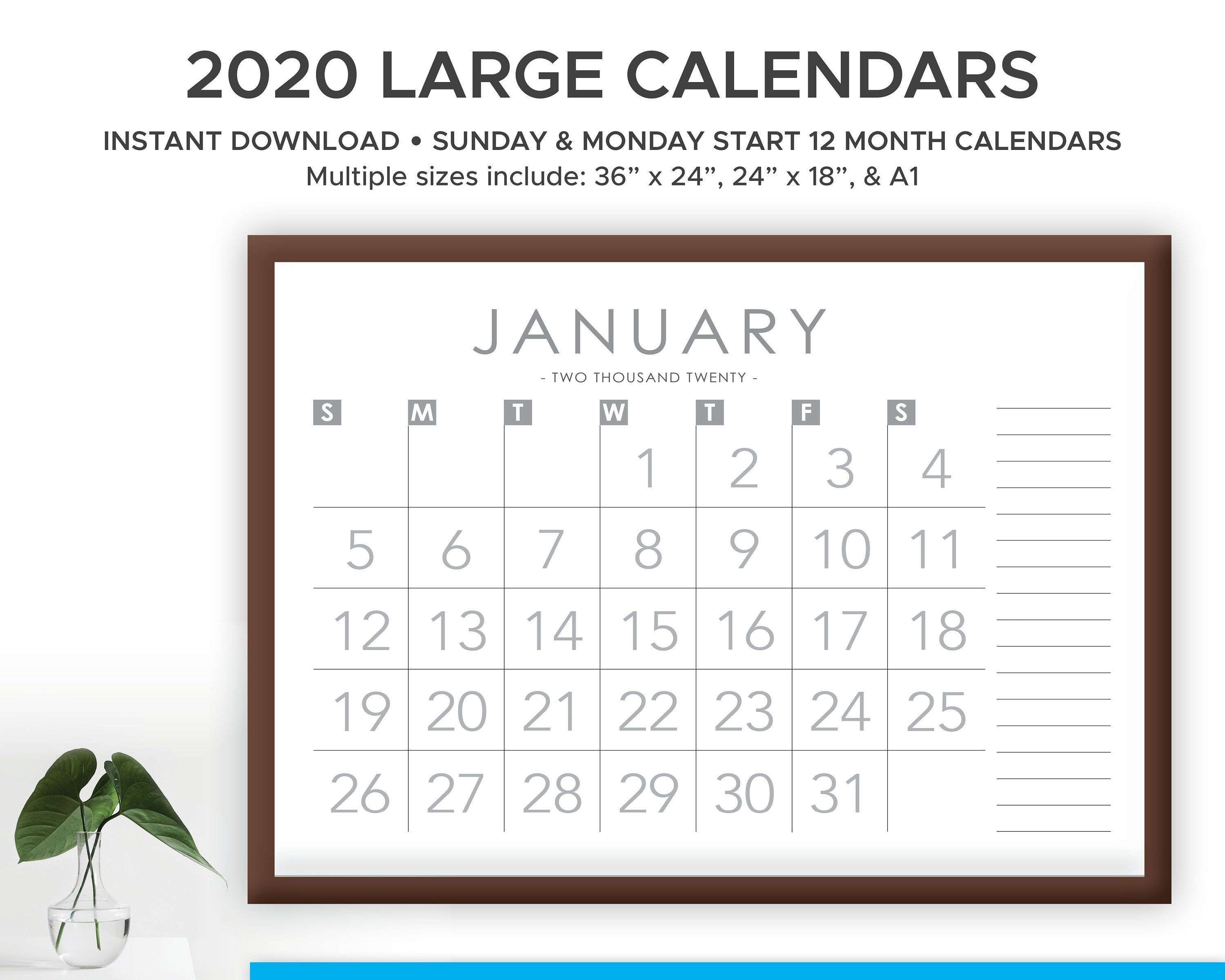 Printable 2020 And 2021 Large Print Modern Monthly Wall Etsy In 2020 Wall Calendar Large Prints Printable Calendar